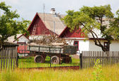 Rural landscape, old cart, rustic house. — Stockfoto