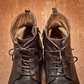 Men's leather shoes handmade. A luxury model — Stock Photo
