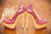 Women shoes pink high heels. Stylized snake skin. — Stock Photo