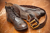 Fashionable leather shoes, leather belt brown — Stock Photo