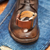 Men's watches, leather shoes, jeans. — Stock fotografie