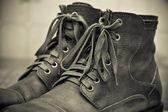 Pair of men's fashion shoes. Tying closeup. — ストック写真