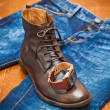 Men's watches, leather shoes, jeans. — Стоковое фото