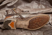 Brown leather handmade shoes. Vintage style — Stock fotografie