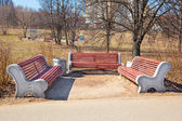 Wooden benches in the park. vintage style — Stock Photo