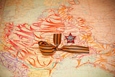 Map of battles in World War II. George Ribbon, Order of the Red Star. — Stock Photo