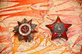 Map of battles in World War II. Order of the Red Star. — Stock Photo