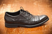 Classic leather shoes black color close up — Stockfoto