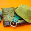 Постер, плакат: Green shoes green hat and belt Still life of clothing cowboy style