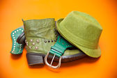 Green shoes, green hat and belt. Still life of clothing - cowboy style — Stock Photo