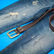 Blue jeans and leather belt with gold buckle — 图库照片 #47350019