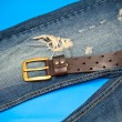 Blue jeans and leather belt with gold buckle — 图库照片 #47350507