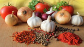 Herbs, spices and vegetables — Stock Photo