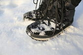 Winter Boots On Snow — Stock Photo