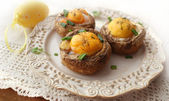 Fried mushrooms with eggs (Easter table) — Stock Photo