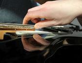 Man playing electrical guitar — Stock Photo