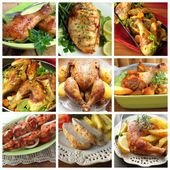 Collage of various chicken products — Stock Photo