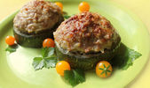 Zucchini stuffed with minced meat and rice — Stock Photo