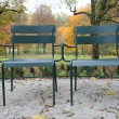 Two metal chairs in the autumn park  — Stock Photo