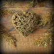 Christmas decoration- golden heart — Stockfoto #37313497
