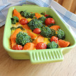 Casserole with broccoli,cherry tomatoes and carrots — Stock Photo
