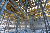 Wide view metalic scaffolding inside the building — Stock Photo