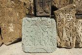Armenian medieval cross stones on the peninsula Sevan — Stockfoto
