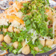Постер, плакат: Fresh salad with chickpeas cabbage carrots greens