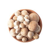 Fresh mushrooms in a bowl of clay isolated over white — Stock Photo