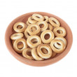 Bagels in a bowl of clay isolated over white — Stock Photo #46823053