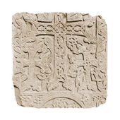 Armenian medieval cross stone on the peninsula Sevan isolated on white — Stock Photo