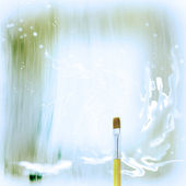 Wooden yellow Paint Brush and abstract drawing painted in watercolor in fantasy style — Stock Photo