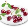 Stock Photo: Cherries on a plate.