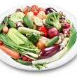 Stockfoto: Lots of vegetables on a plate.