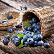 Blueberries have dropped from the basket — Stock Photo #12037756