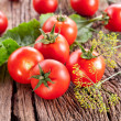 Tomatoes, cooked with herbs for the preservation — Stock Photo #12037894