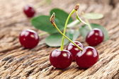 Cherries with leaves — Stock Photo