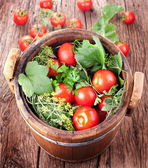Barrel of pickled tomatoes — Stock Photo