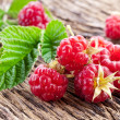 Raspberries with leaves — Stock Photo #12179065