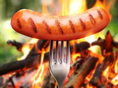 Sausage on a fork. — Stock Photo