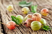 Gooseberries with leaves — Stock Photo