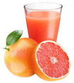 Grapefruit juice with ripe grapefruit — Stock Photo