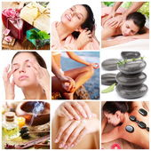 Spa treatments and healthy living. Collage of nine pictures. — Stockfoto