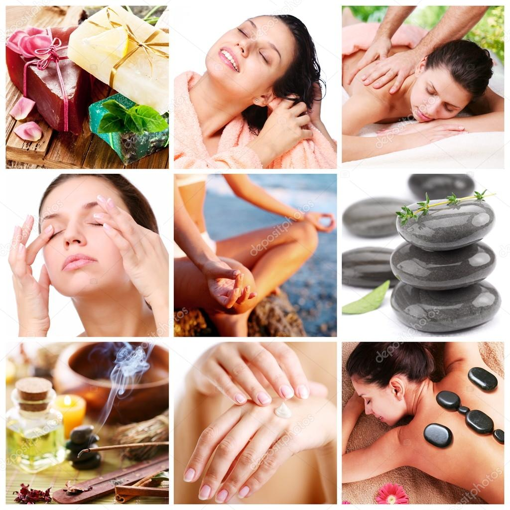 Spa treatments and healthy living. Collage of nine pictures.  Stock Photo #12639709