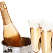 Two champagne glass with bottle. — Stock Photo