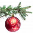 Christmas ball on fir branches. Isolated on white. — Stock Photo #12708122