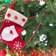 Christmas Sock mit Santa claus — Stockfoto #12708296