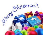 Christmas gifts and balls. — Stock Photo