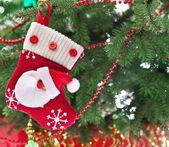 Christmas sock with Santa Claus — Stock Photo