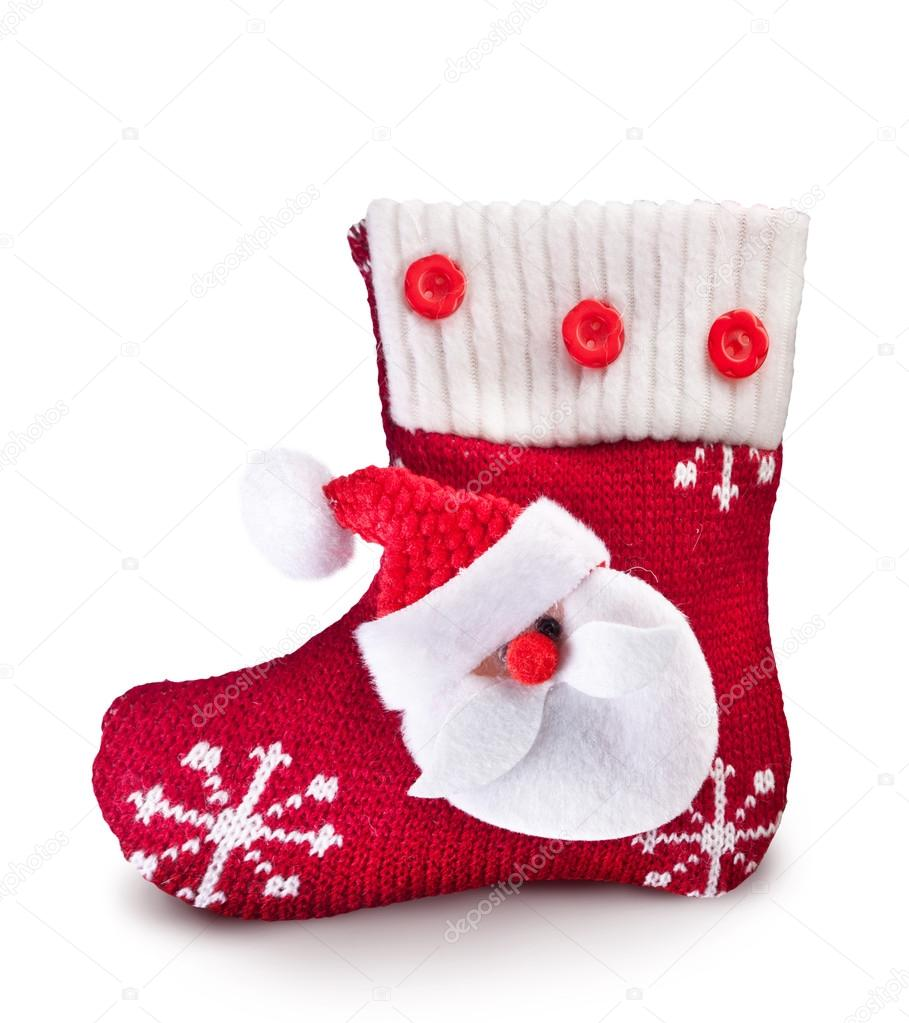 Christmas sock with Santa Claus on a white background. — Stock Photo #12707959